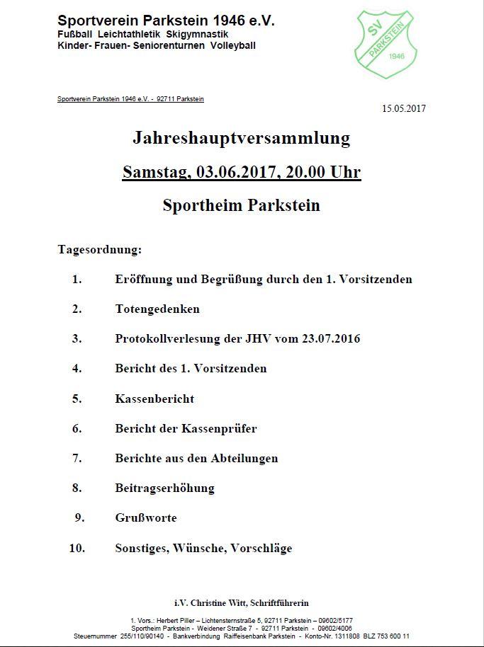 Einladung JHV 2017